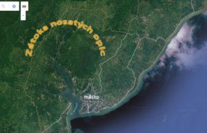 Zátoka nosatých opic na staletiním snímku - zdroj: Google maps